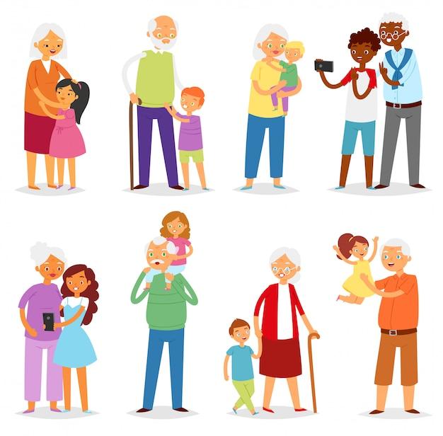 Бабушка и дедушка семья вместе дедушка или бабушка с внуками иллюстрация набор пожилых людей характер бабушка или дедушка с детьми, мальчик или девочка на белом фоне