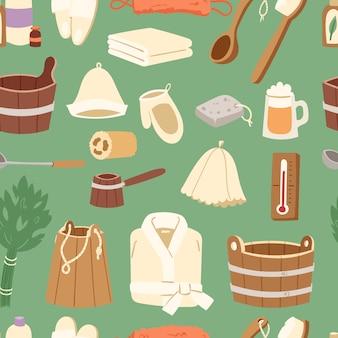 Баня баня сауна горячая вода спа термальный пар концепция здравоохранения ванная комната метла сауна ведро иллюстрация бесшовный фон фон