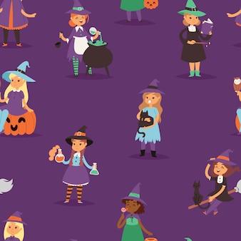 Милая ведьма хэллоуин маленькая девочка харридан с метлой с медью мультфильм магия молодая ведьма женщина платье персонажа костюм шляпа колдовство иллюстрация бесшовный фон фон