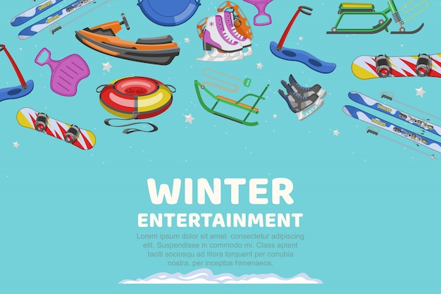 Надпись зимних развлечений, коллекция предметов для спорта и развлечений, мультфильм иллюстрации.