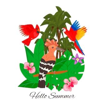 Здравствуйте, лето, джунгли, тропические пальмы, листья цветов. экзотические гавайские тропические птицы.
