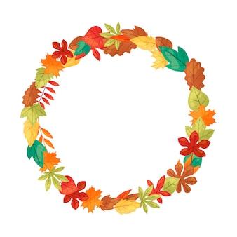 秋の葉のバナーの背景。緑、オレンジ、茶色、黄色の落ち葉。カラフルなメープル、栗、オークの葉。