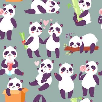 パンダのキャラクターのさまざまな位置のシームレスパターン