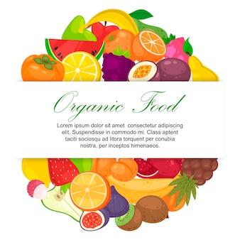 Фрукты органические для фермы рынка шаблон