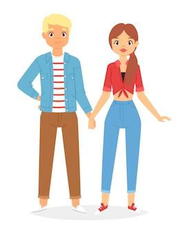 春の服を着てファッションカップル