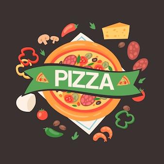 食材を使ったピザハウス
