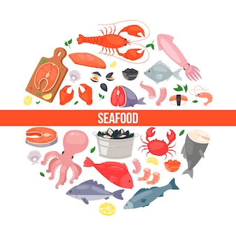 Морепродукты и рыба в плоском стиле
