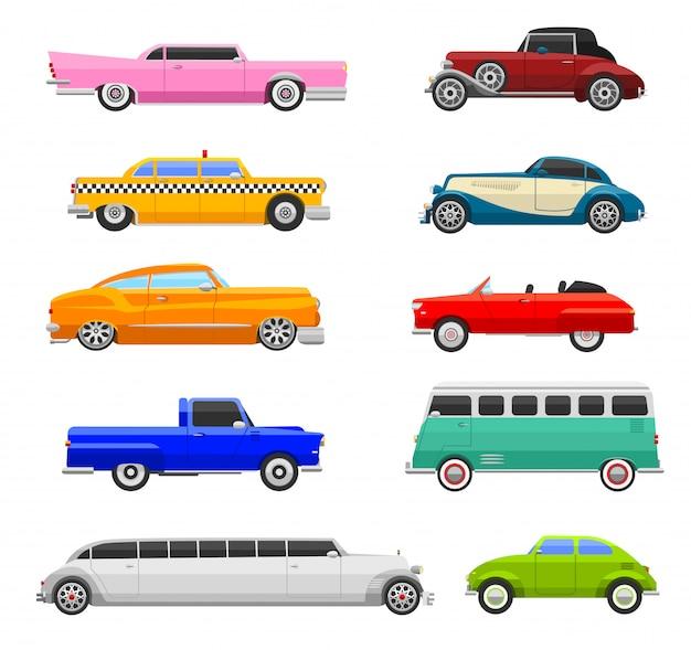Ретро автомобили иконки старинный вектор