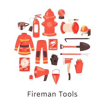 赤い消火器および消防士のツール、ユニフォームおよび機器
