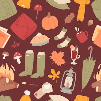 秋のアイテムのシームレスパターン