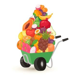 Тачка экзотических тропических фруктов, вегетарианская еда иллюстрации.