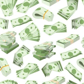 Пачки банкнот доллара и деньги валюты бесшовные бизнес шаблон.