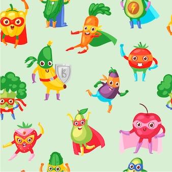 スーパーヒーローの果物と野菜のシームレスなパターン。