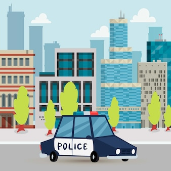Полицейская машина и полиция патрулируют на дороге в городе с городской иллюстрацией шаржа предпосылки.