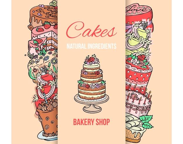 Торт магазин плакат иллюстрации. торты натуральные ингредиенты