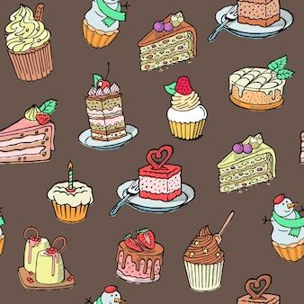 カップケーキのシームレスパターン