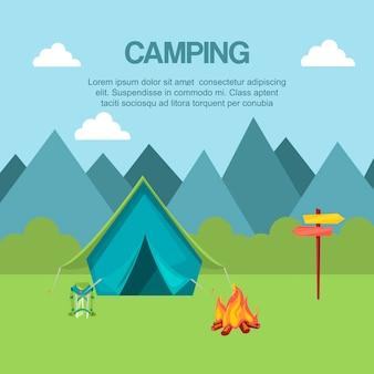 Кемпинг в лесу баннер векторные иллюстрации. отпуск и туризм