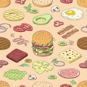 ハンバーガーと食材