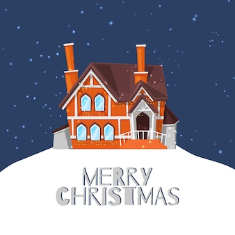Загородный дом зимы на снежном ландшафте и с рождеством христовым цитирует иллюстрацию шаржа.