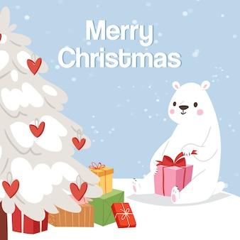 メリークリスマスとホッキョクグマのギフトボックスと雪に覆われたツリーの図。