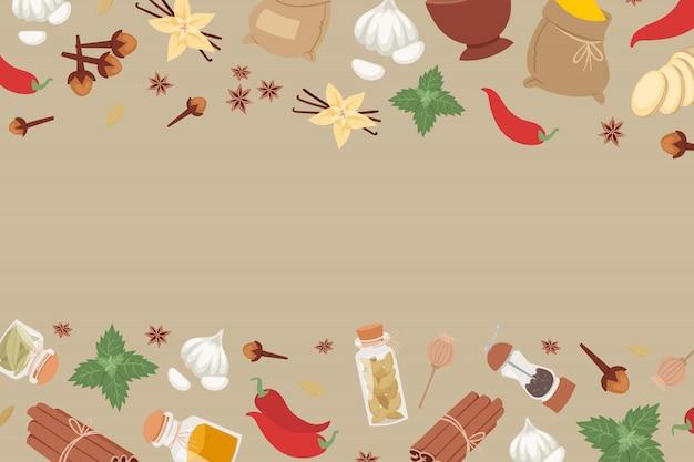 食品調味料バナーのインド風味成分からのインドのスパイスとハーブ。