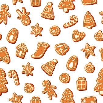 クリスマスのジンジャーブレッドクッキーのシームレスパターン