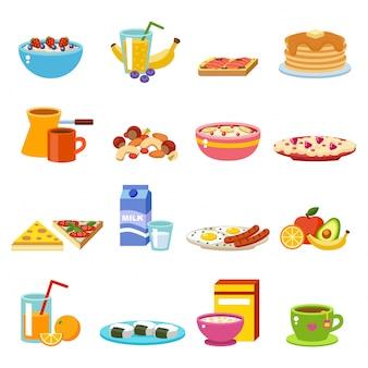 健康的な朝食用食品のベクトル。