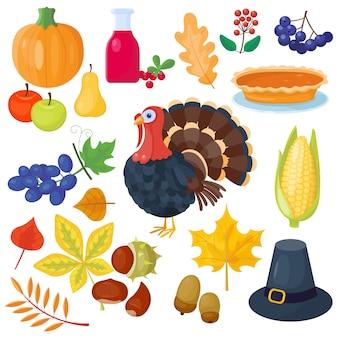 Набор иконок день благодарения