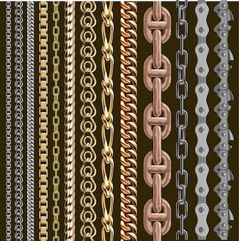 チェーンは、背景に分離された要素のシームレスな金属チェーン部品セットをリンクします。金と銀の金属チェーンはシームレスな要素をリンクします