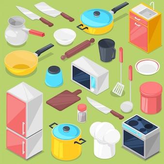 Кухонная утварь бытовой техники и посуды для приготовления пищи или кухонной утвари для кухонника изометрические иллюстрации холодильник в кухонный гарнитур, изолированных на фоне