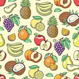 フルーツフルーティーなアップルバナナとエキゾチックなパパイヤ手作りスケッチ古いレトロなビンテージグラフィックスタイルのイラスト。新鮮なスライストロピカルドラゴンフルーツまたはジューシーなオレンジの実り多いシームレスパターン背景