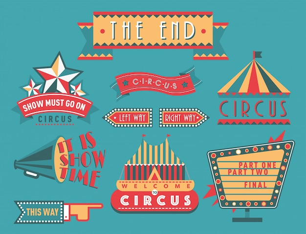 Цирк старинные вывески этикетки баннер иллюстрации развлекательный билет знак