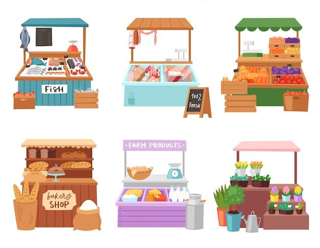 食料品店や魚屋の白い背景で隔離の人々販売野菜の書店肉屋や屋台イラストセットでパン屋で販売食品市場セールスマン売り手キャラクター