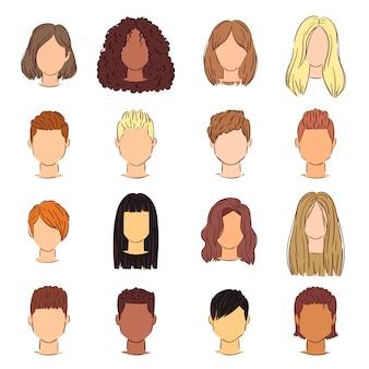 髪型女性女性散髪ヘッド短いまたは長い髪とかつらイラスト理髪または白い背景で隔離の美容師の着色と散髪