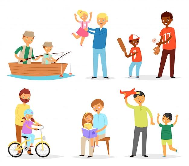 Отец и ребенок папа и дети дочь сын, играя на рыбалку вместе иллюстрации день отцов набор счастливый папа с детьми, изолированных на белом фоне