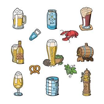 Пиво в пивоварне пивоварня пивная кружка или пивной чайник и темный эль или пивная бочка в баре на пивной вечеринке с набором алкогольных напитков, изолированных на белом фоне