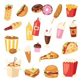 ファーストフード栄養アメリカのハンバーガーまたはチーズバーガー不健康な食事概念ジャンクファーストフードスナックハンバーガーまたはサンドイッチとソーダ飲み物イラスト背景に分離