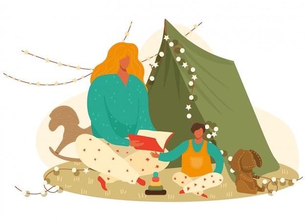 Книга чтения мальчика матери и ребенка, сказка на ночь к ее сыну, игрушки и иллюстрация шаржа игр.