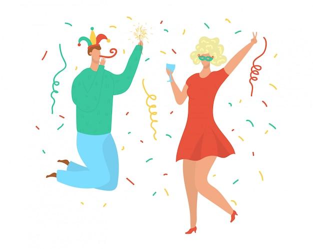 パーティーダンスの人々、誕生日のお祝い、ピエロの帽子とウィッグのディスコ音楽イラストを踊る若い男女。