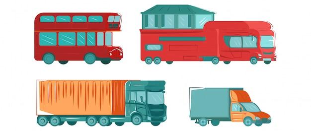 都市の公共交通機関がバス、トラック、白いフラットイラストコレクションに分離された都市の旅行車両自動車で設定。