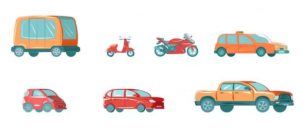 Городской общественный транспорт с автобус, такси, автомобиль, автомобиль и мотоцикл для города, изолированные на белом плоской иллюстрации коллекции.