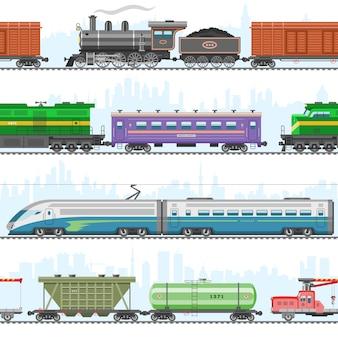 Комплект современного и ретро железнодорожного транспорта, локомотивов, скоростных пассажирских поездов, вагонов на белой иллюстрации.