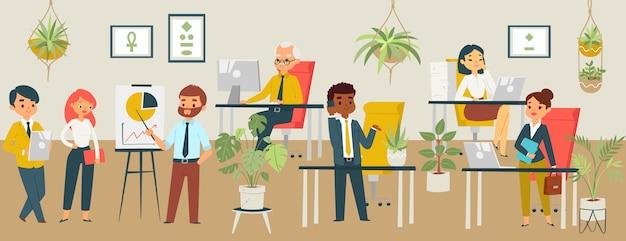 オフィス会議、ビジネススタッフの教育とプレゼンテーション、会社やビジネスマンの漫画イラストのワークショップの人々。