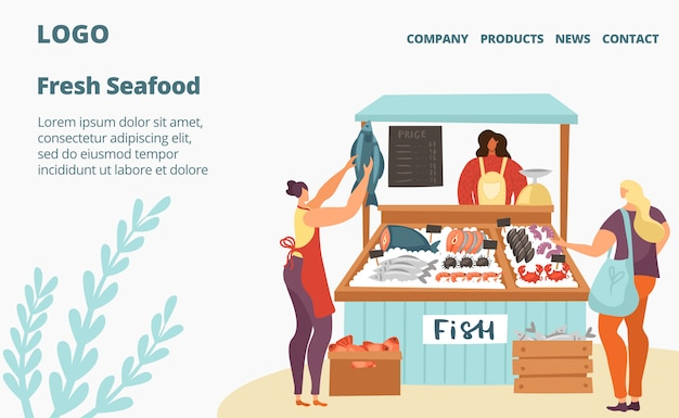 新鮮な魚介類の販売市場または店のウェブページテンプレートイラスト、氷の中のシーフード、顧客、売り手。