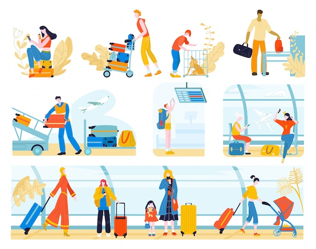 空港の人々、白で隔離されるフラットの図のチェックインまたは出発セットを待っている旅客を旅行で荷物を持つ観光客。