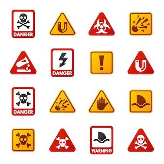 Значки знака внимания предупреждения опасности