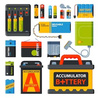 さまざまな電池のグループ