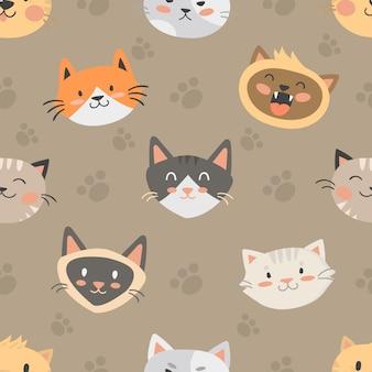 シームレスな流行に敏感な猫パターンベクトル図