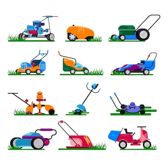 芝刈り機ガーデニング芝刈機電装機・庭刈りトリマーイラスト機械セット
