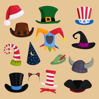 様々な種類と色の帽子